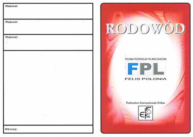 Okładka zewnętrzna rodowodu FPL do czerwca 2019r.