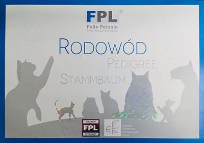 Okładka zewnętrzna rodowodu FPL od czerwca 2019r.